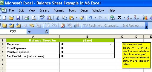 Balance Sheet In Ms Excel Preview