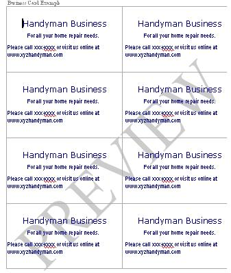 Handyman business forms templates business card example in ms wordeview download fbccfo Choice Image